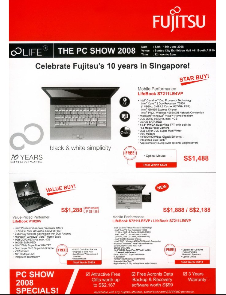PC Show 2008 price list image brochure of Fujitsu Lifebook 1