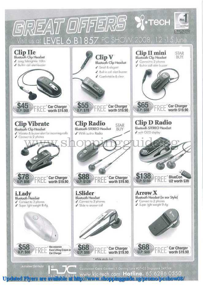 PC Show 2008 price list image brochure of I-tech Bluetooth Headset ShoppingGuide.SG-PcShow08-053