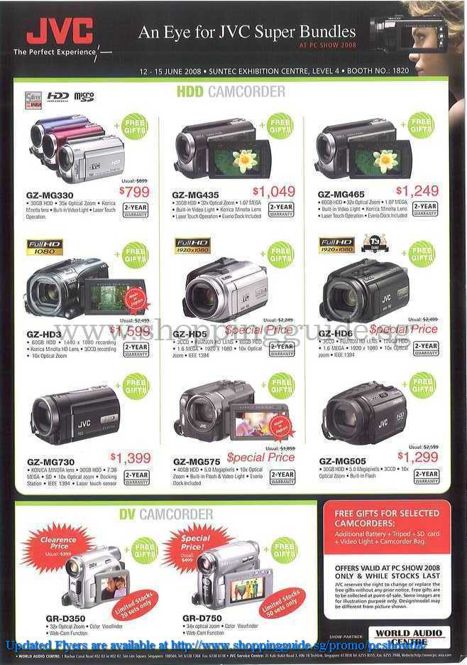 PC Show 2008 price list image brochure of Jvc Camcorders ShoppingGuide.SG-PcShow08-133