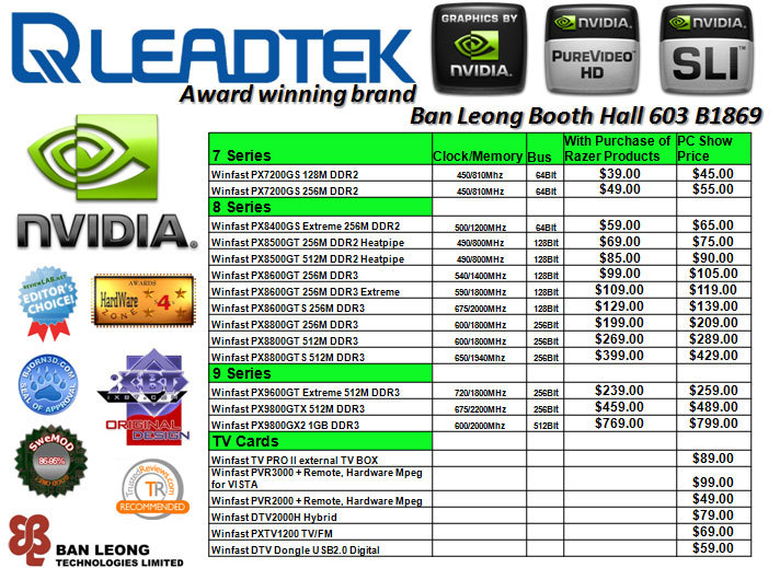 PC Show 2008 price list image brochure of Leadtek-pc-show-2008