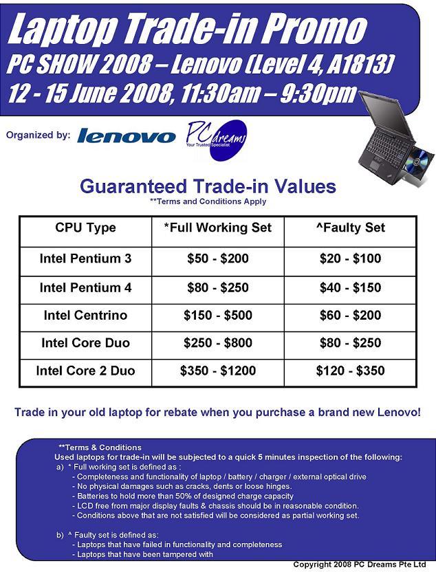 PC Show 2008 price list image brochure of Lenovo Trade In Program
