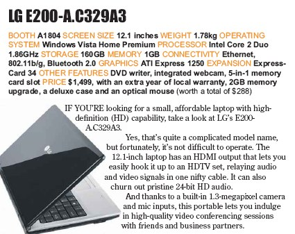 PC Show 2008 price list image brochure of Lg E200-a Laptop