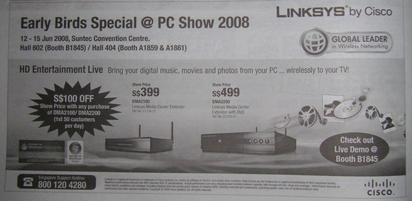PC Show 2008 price list image brochure of Linksys Media Centers