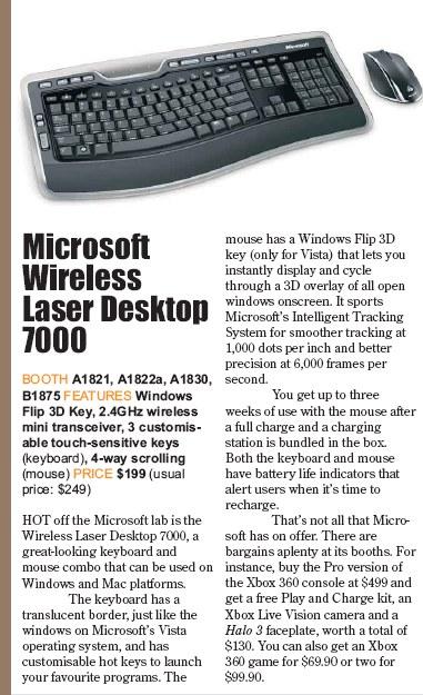 PC Show 2008 price list image brochure of Microsoft Wireless Laser Desktop 7000