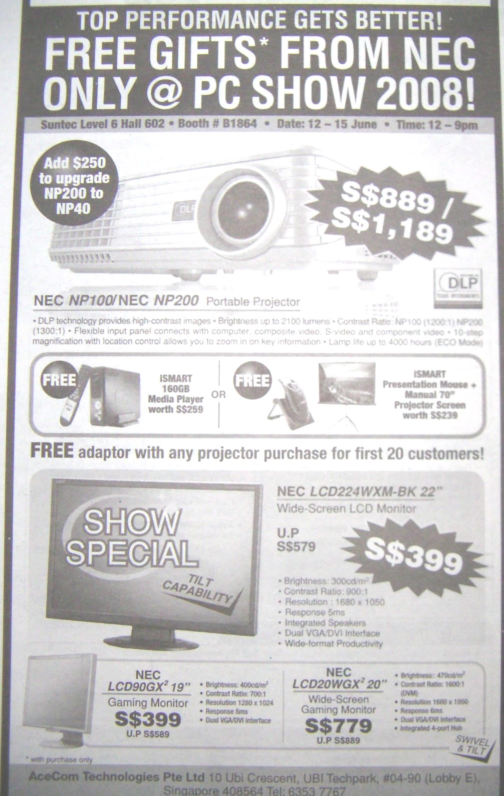 PC Show 2008 price list image brochure of Nec Lcd And Projector