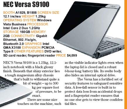 PC Show 2008 price list image brochure of Nec Versa S9100