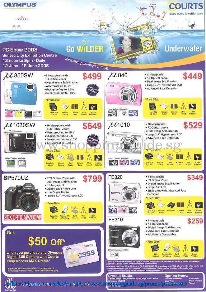 PC Show 2008 price list image brochure of Olympus Cameras ShoppingGuide.SG-PcShow08-130