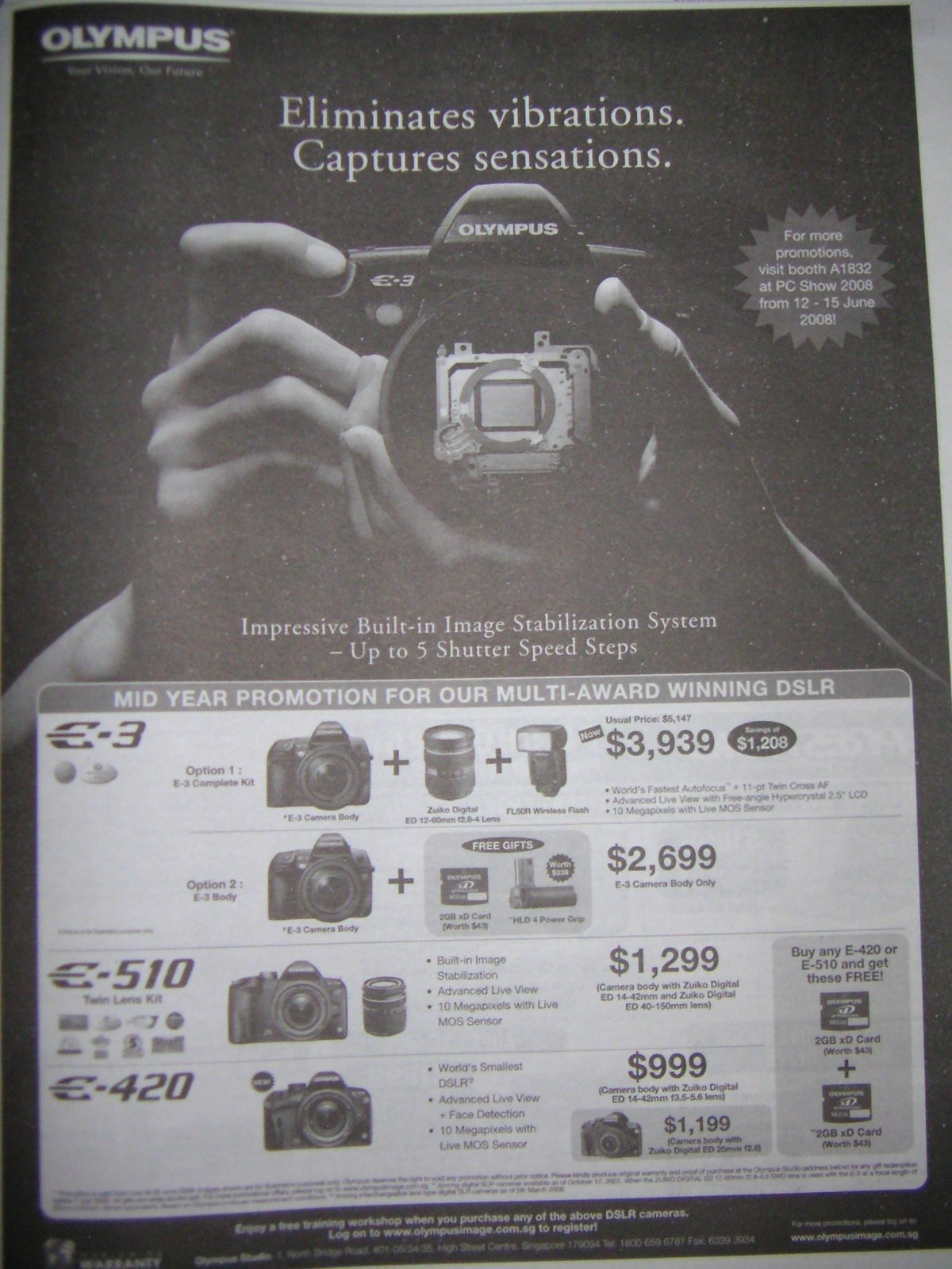 PC Show 2008 price list image brochure of Olympus Cameras
