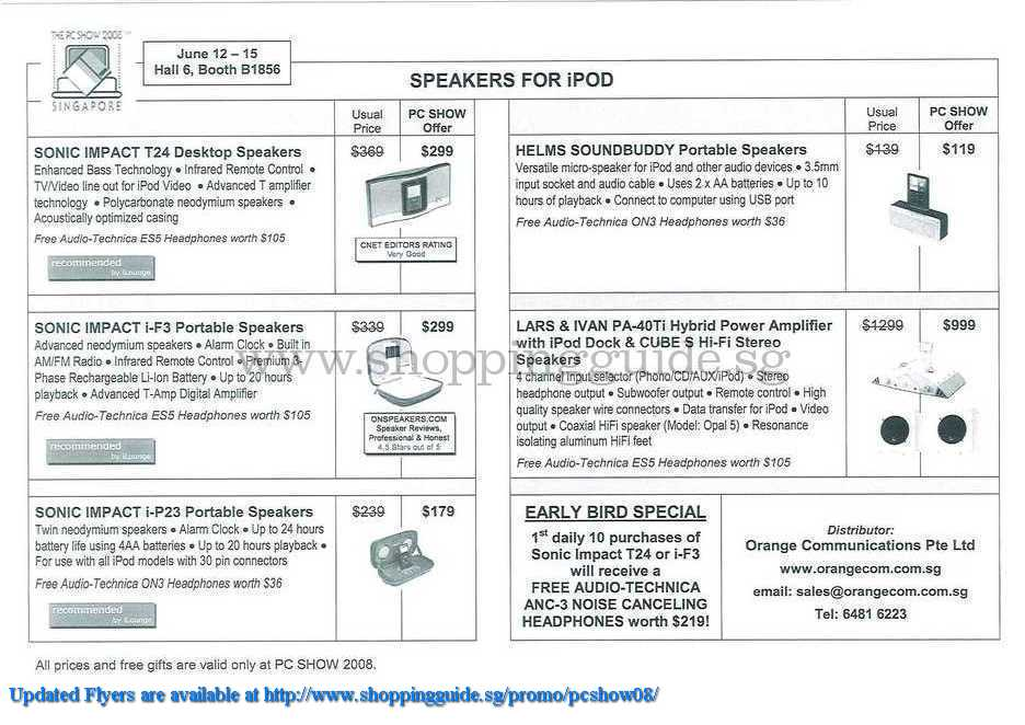 PC Show 2008 price list image brochure of Orange Ipod Speakers ShoppingGuide.SG-PcShow08-032