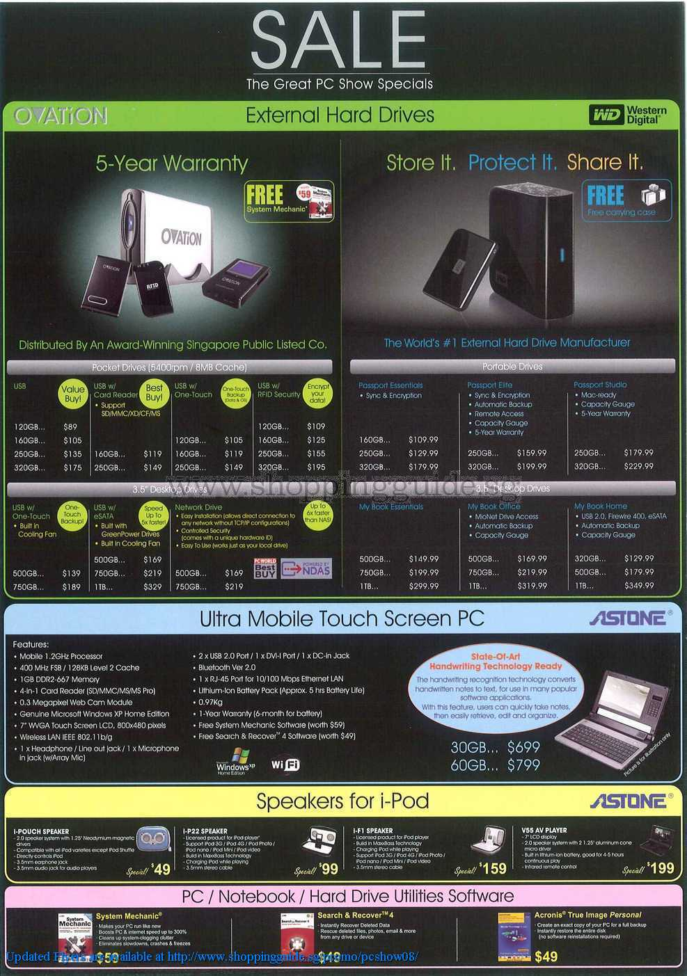 PC Show 2008 price list image brochure of Ovation Western Digital Astone ShoppingGuide.SG-PcShow08-008
