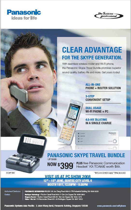 PC Show 2008 price list image brochure of Panasonic Skype