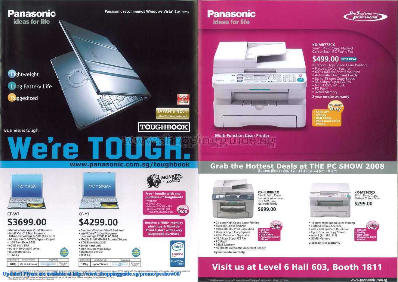 PC Show 2008 price list image brochure of Panasonic Toughbook Printer ShoppingGuide.SG-PcShow08-097