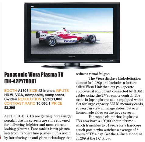 PC Show 2008 price list image brochure of Panasonic Viera Plasma Tv