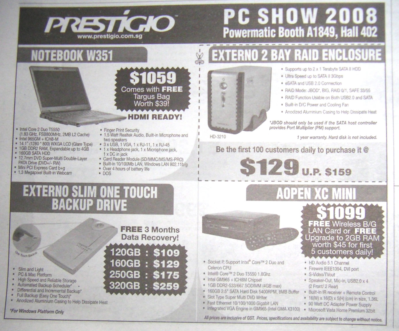 PC Show 2008 price list image brochure of Prestigio