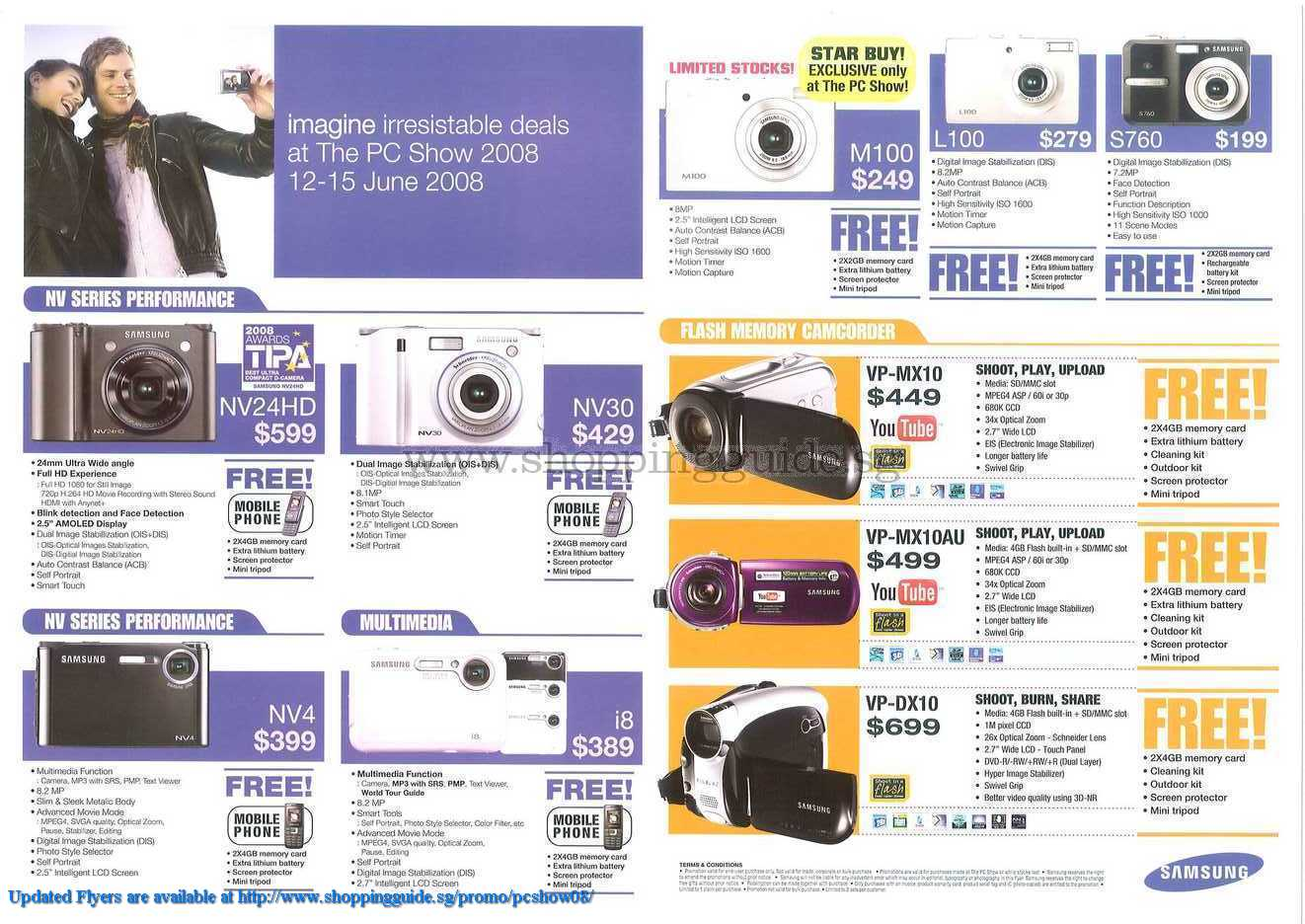 PC Show 2008 price list image brochure of Samsung Camcorder Camera ShoppingGuide.SG-PcShow08-140