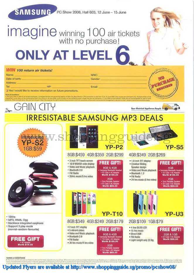 PC Show 2008 price list image brochure of Samsung Mp3 Players ShoppingGuide.SG-PcShow08-179
