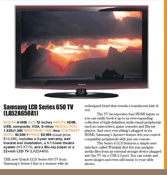PC Show 2008 price list image brochure of Samsung Lcd Tv Series 650 Tv