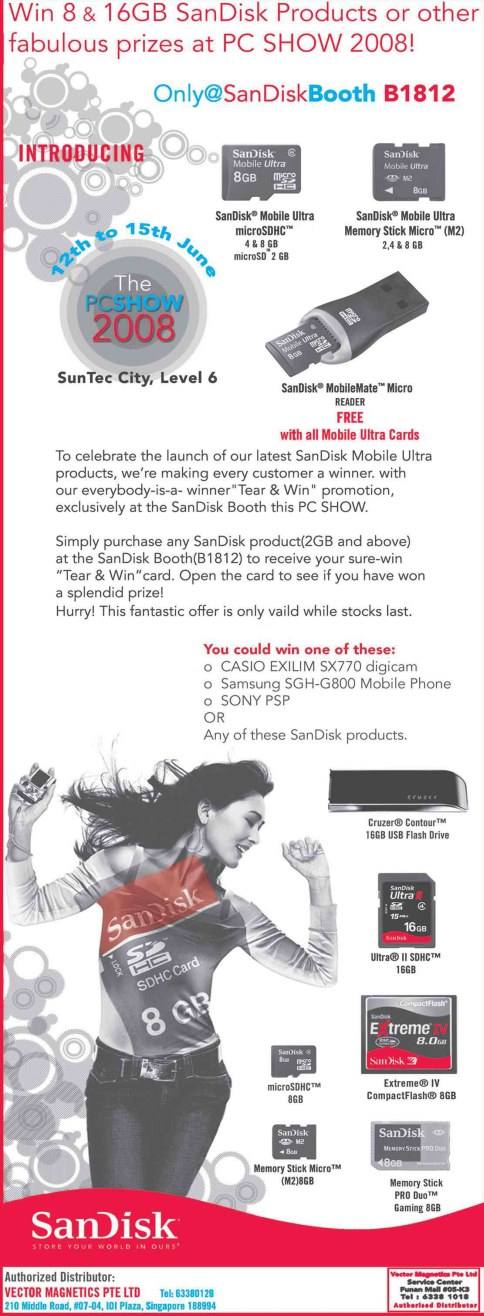 PC Show 2008 price list image brochure of Sandisk