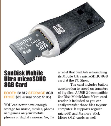 PC Show 2008 price list image brochure of Sandisk Sdhc Card