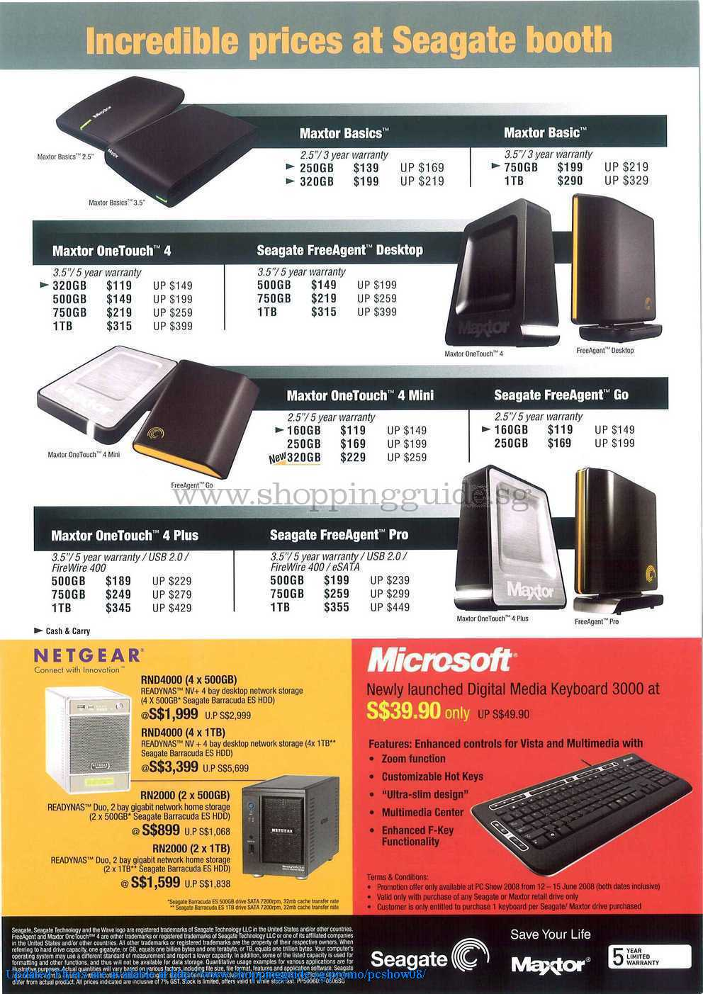 PC Show 2008 price list image brochure of Seagate Netgear ShoppingGuide.SG-PcShow08-010