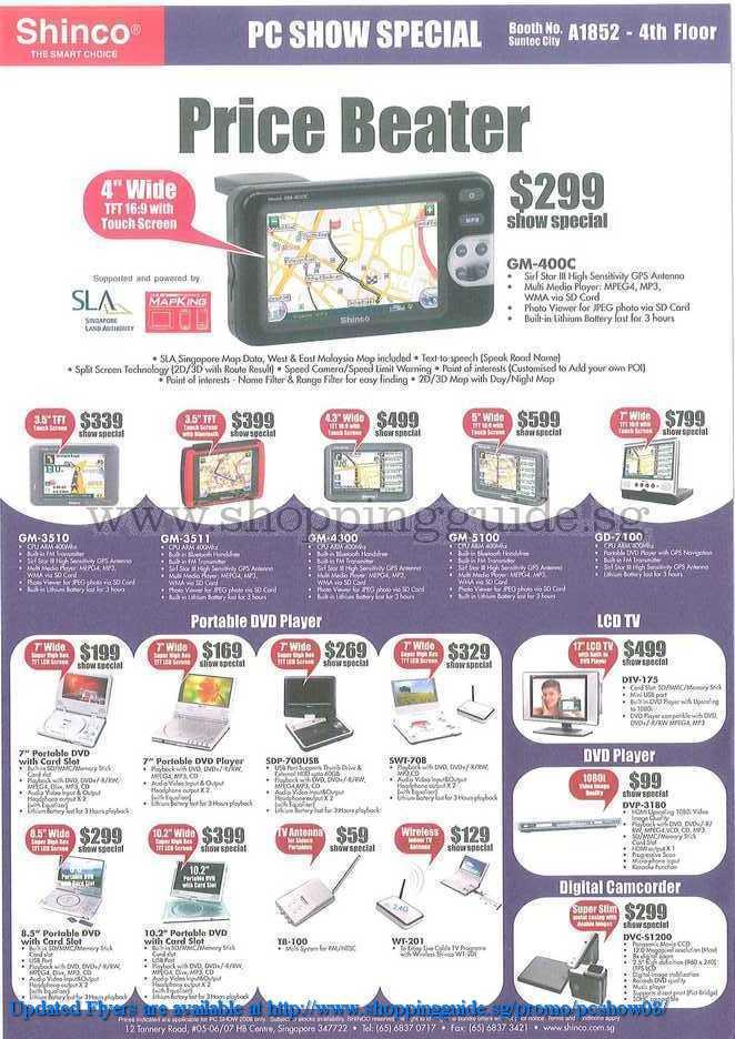 PC Show 2008 price list image brochure of Shinco Dvd Gps Lcd Tv ShoppingGuide.SG-PcShow08-178