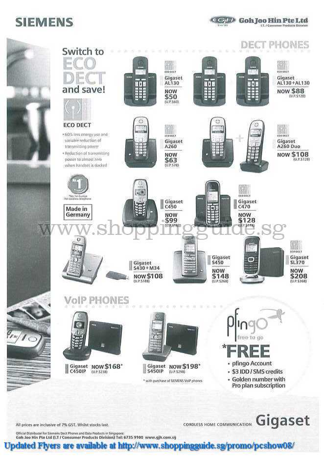 PC Show 2008 price list image brochure of Siemens Dect Voip Phones ShoppingGuide.SG-PcShow08-182