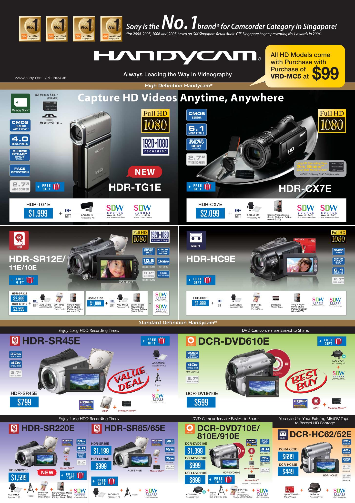 PC Show 2008 price list image brochure of Sony Handycam