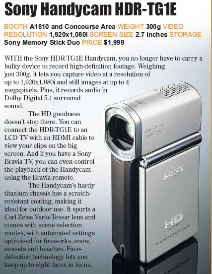 PC Show 2008 price list image brochure of Sony Handycam Hdr-tg1e