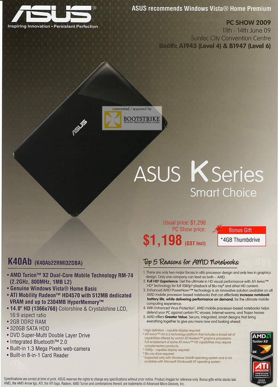 PC Show 2009 price list image brochure of ASUS K Series K40Ab AMD Notebook