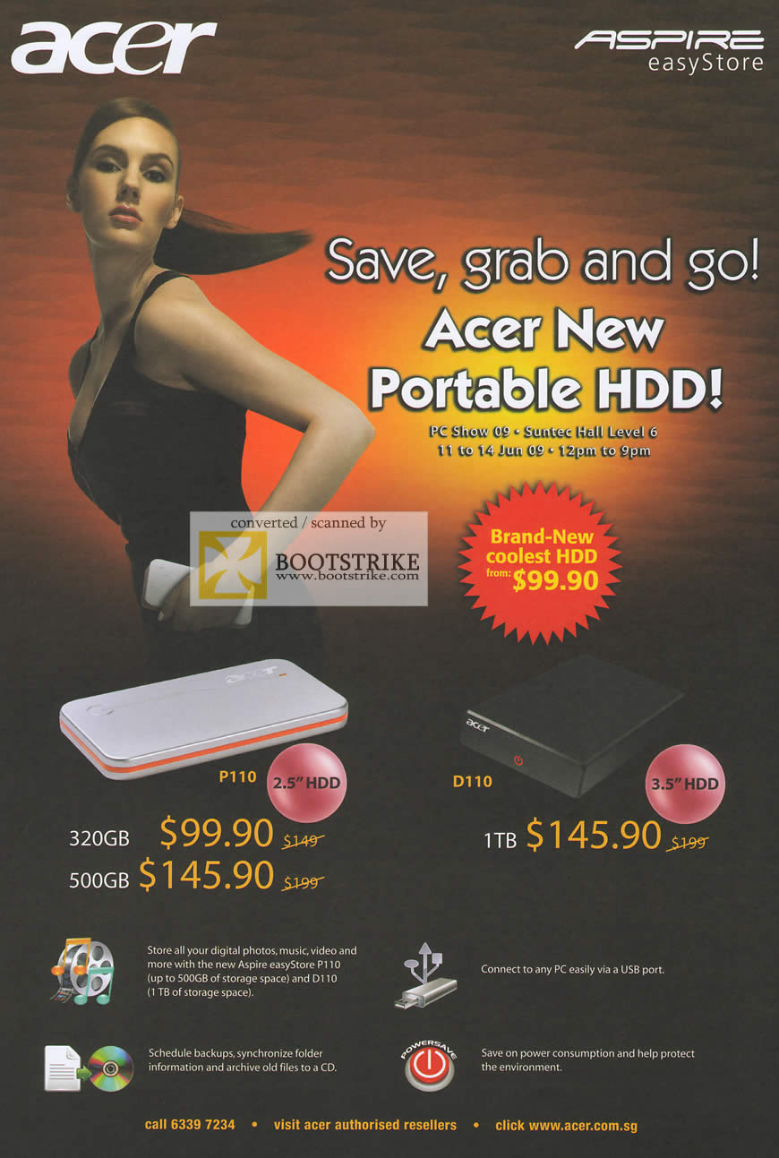 PC Show 2009 price list image brochure of Acer Aspire EasyStore Portable External HDD P110 D110