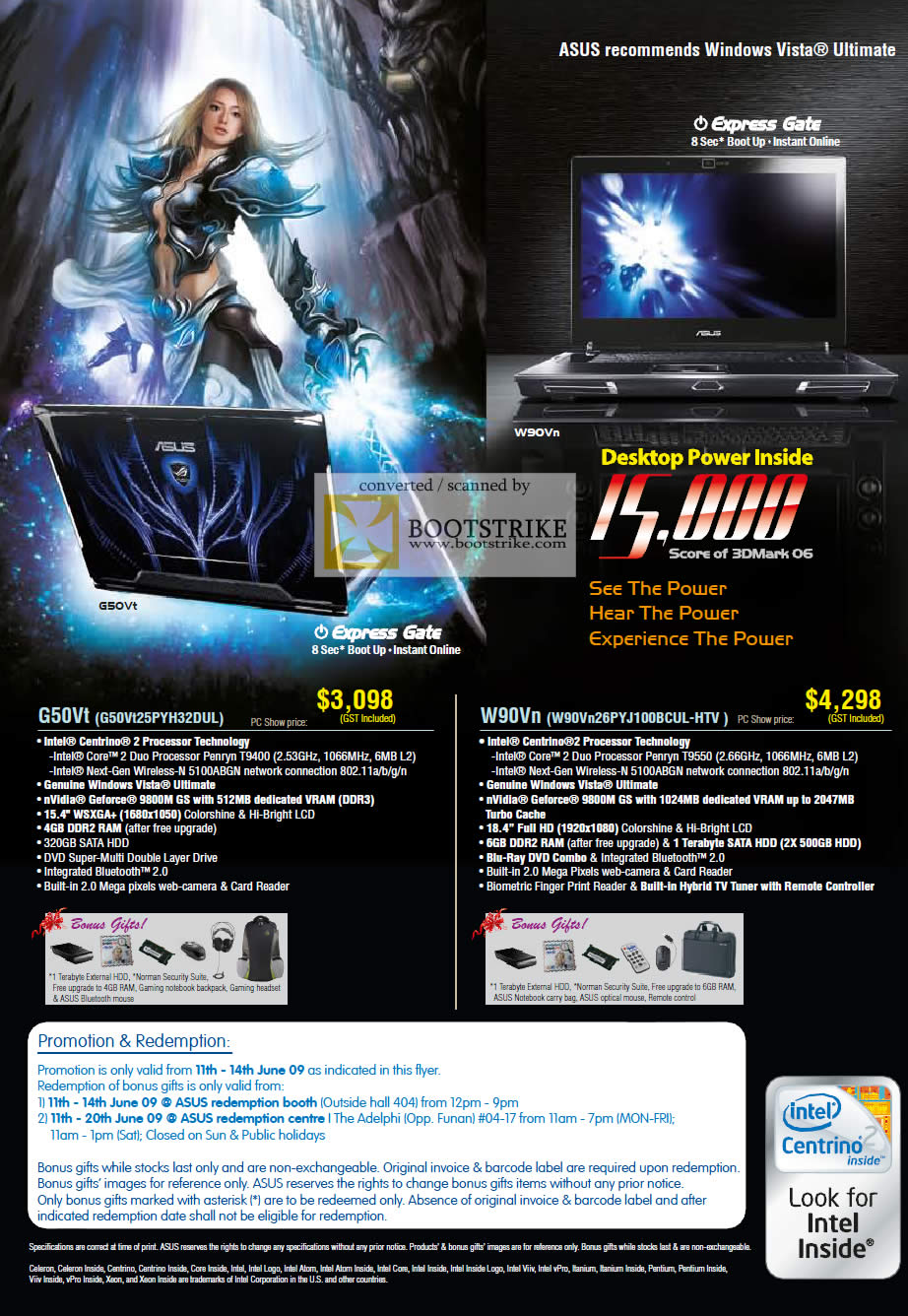 asus w90vn g50vt gaming notebook pc show 2009 price list