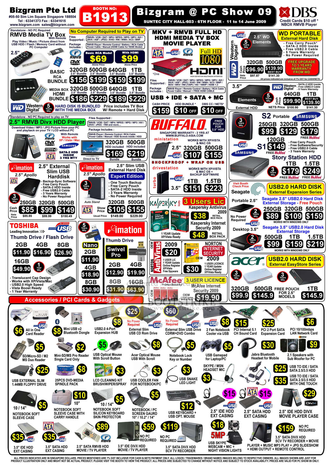 PC Show 2009 price list image brochure of Bizgram External Drives Software Accessories