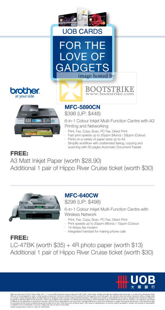 PC Show 2009 price list image brochure of Brother MFC-5890CN 640CW UOB Card