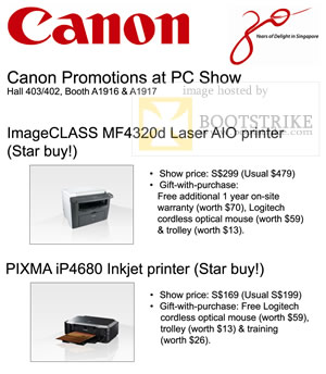 PC Show 2009 price list image brochure of Canon Imageclass MF4320d Laser AIO Pixma Ip4680 Promotion