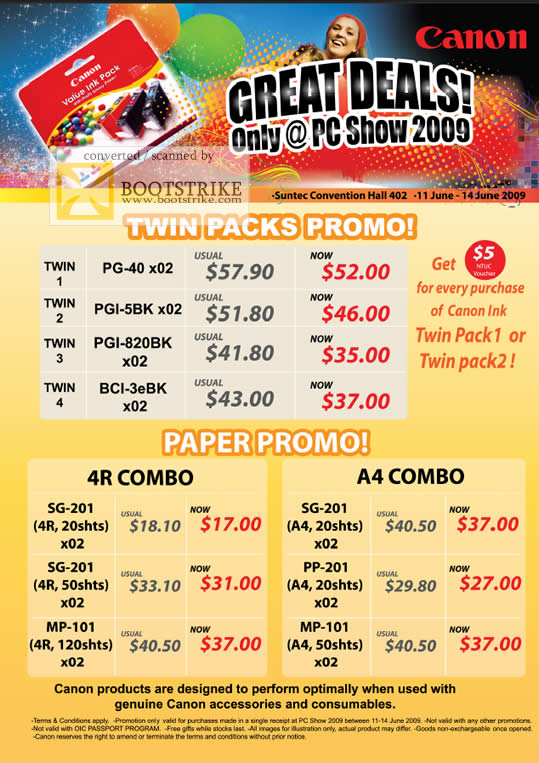 PC Show 2009 price list image brochure of Canon Ink Paper PG PGI BCI SG MP PP MP