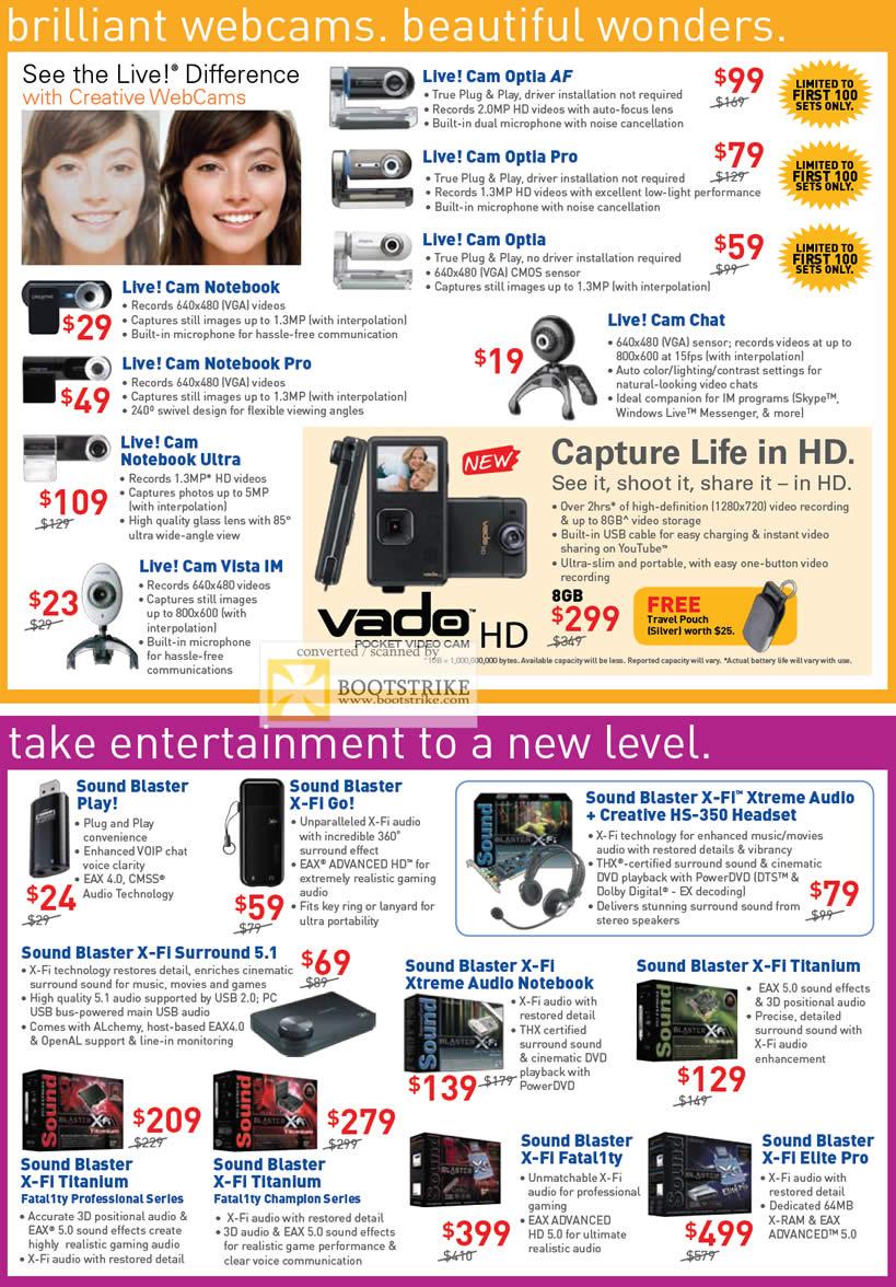 PC Show 2009 price list image brochure of Creative Live Cam Notebook Vista Optia Vado Sound Blaster