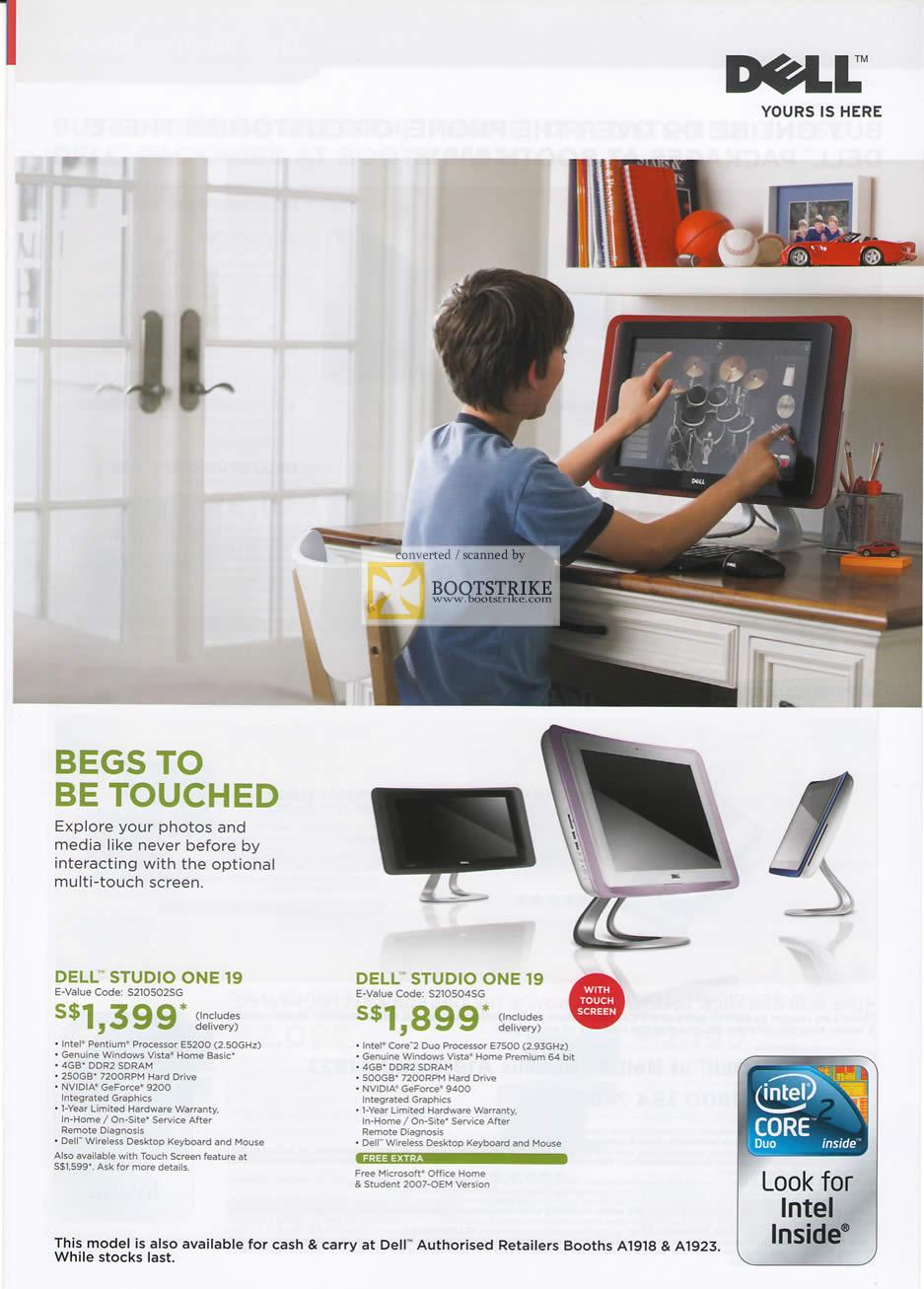 PC Show 2009 price list image brochure of Dell Studio One 19 Desktops