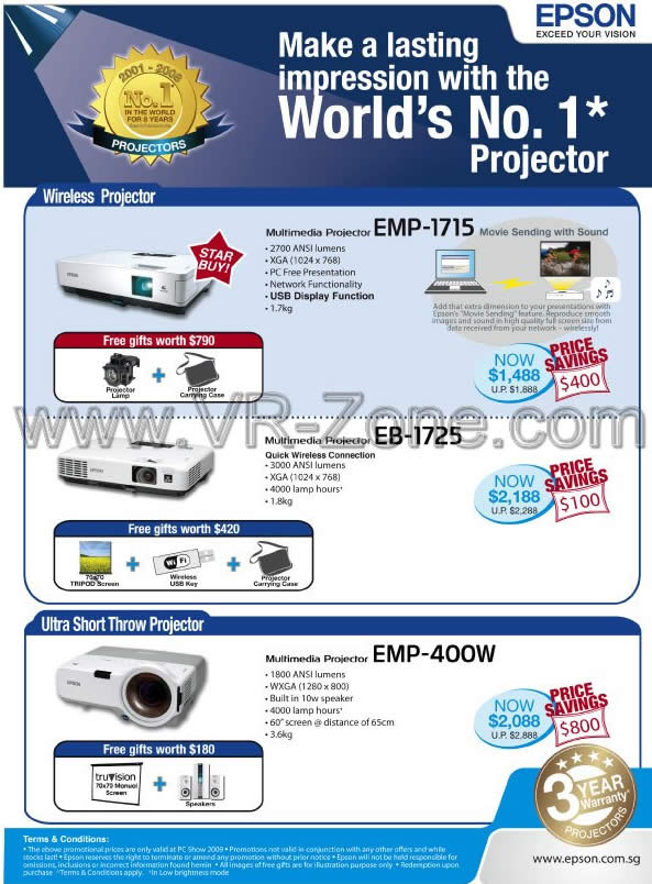 PC Show 2009 price list image brochure of Epson Wireless Projector EMP-1715 EB-1725 EMP-400W