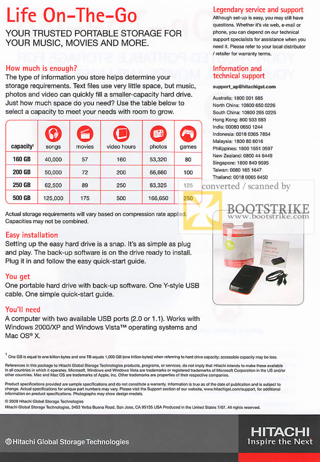 PC Show 2009 price list image brochure of Hitachi Life On-The-Go External Portable Hard Disk Features