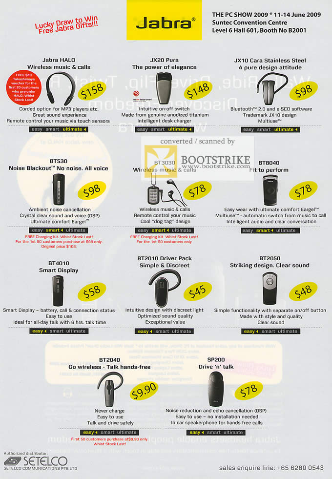 PC Show 2009 price list image brochure of Jabra Halo Pura Cara Bluetooth Headset