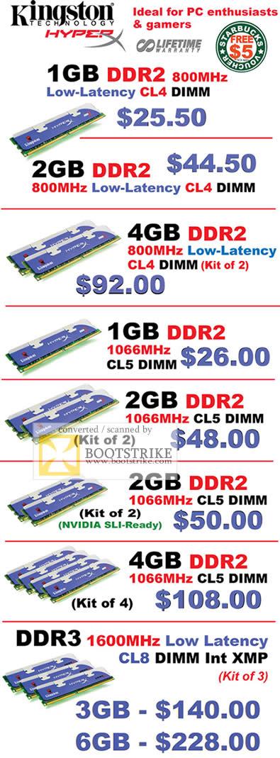 PC Show 2009 price list image brochure of Kingston HyperX DDR2 DDR3 Memory