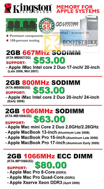 PC Show 2009 price list image brochure of Kingston Memory For Apple Systems