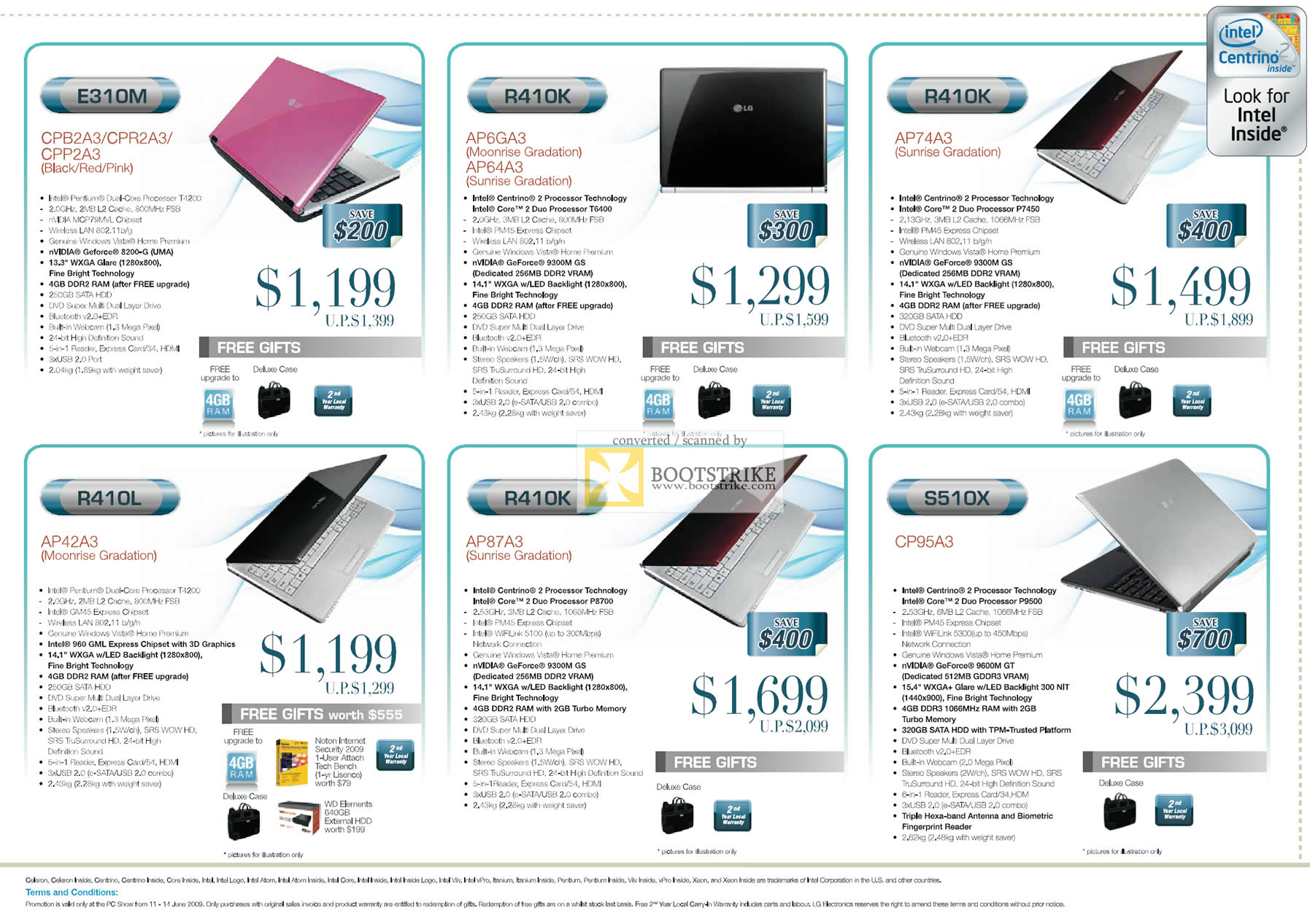PC Show 2009 price list image brochure of LG Notebooks E310M R410K S510X R410L