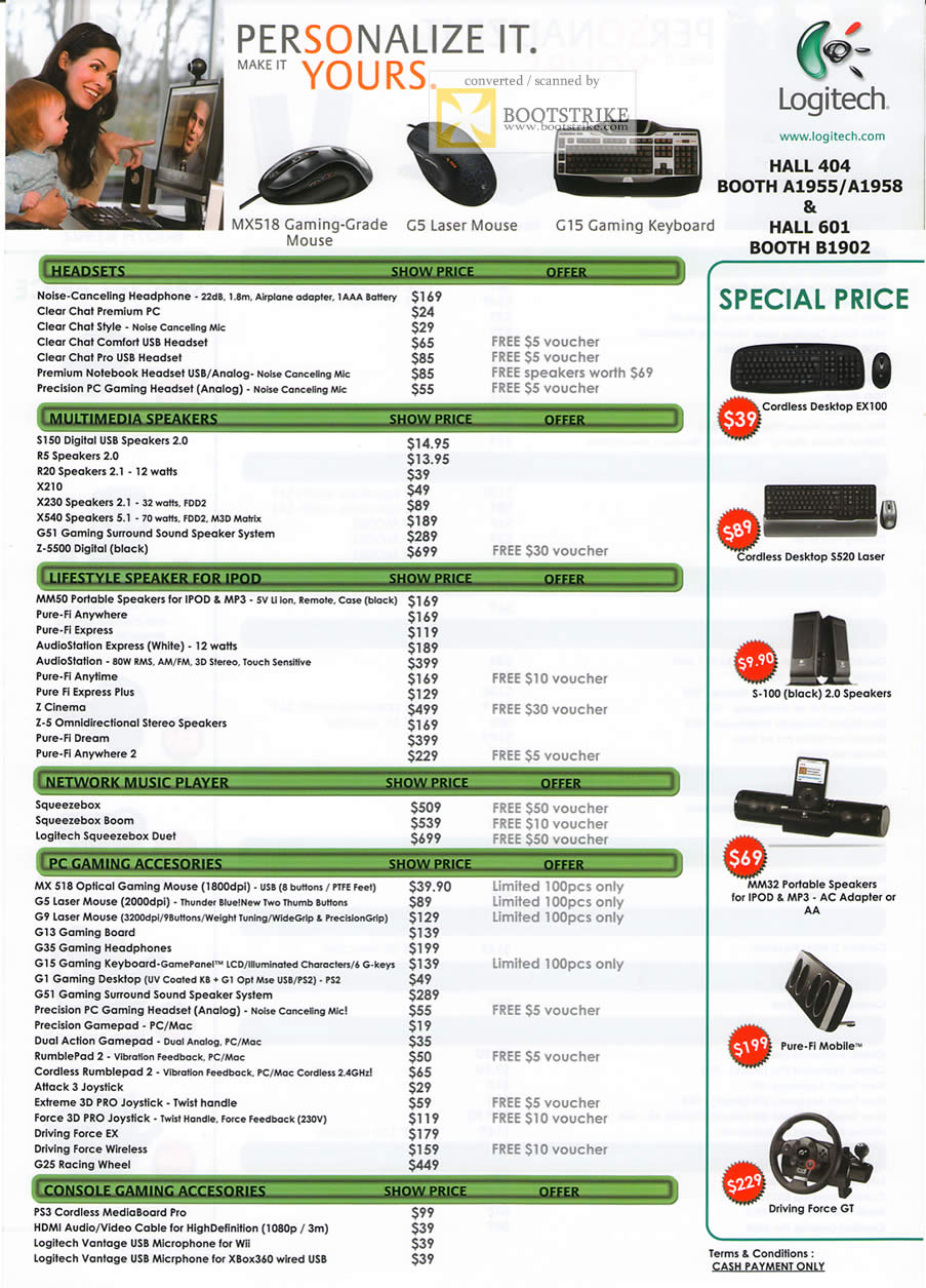 PC Show 2009 price list image brochure of Logitech Headset Speakers Network Music Player Gaming Accessories