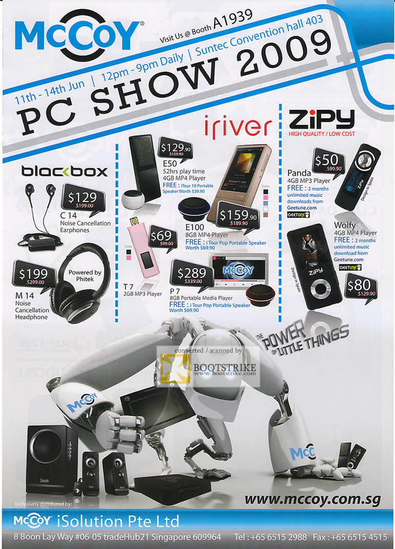 PC Show 2009 price list image brochure of Mccoy Blocbox Iriver Zipy MP4 Player Mp3 Earphones Headphone