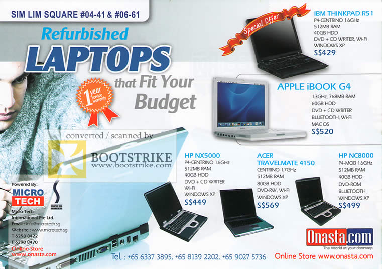 PC Show 2009 price list image brochure of Micro Tech Refurbished Laptops IBM Apple HP Acer