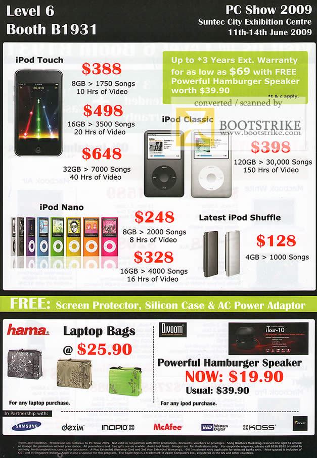PC Show 2009 price list image brochure of NewStead IPod Touch Classic Nano Shuffle Laptop Bags