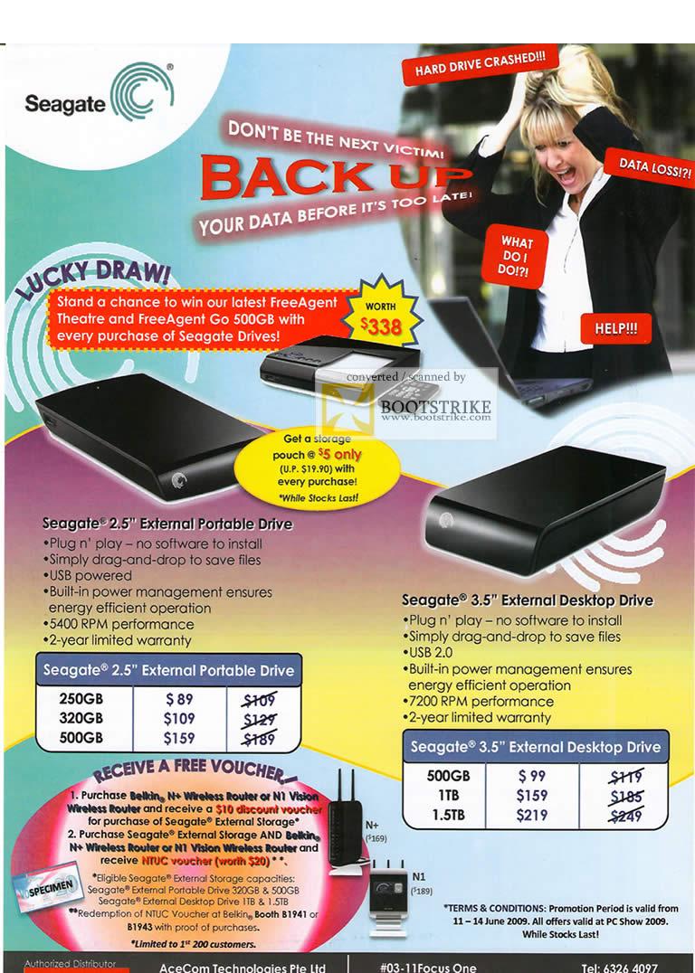PC Show 2009 price list image brochure of Seagate External Portable Drive Desktop AceCom