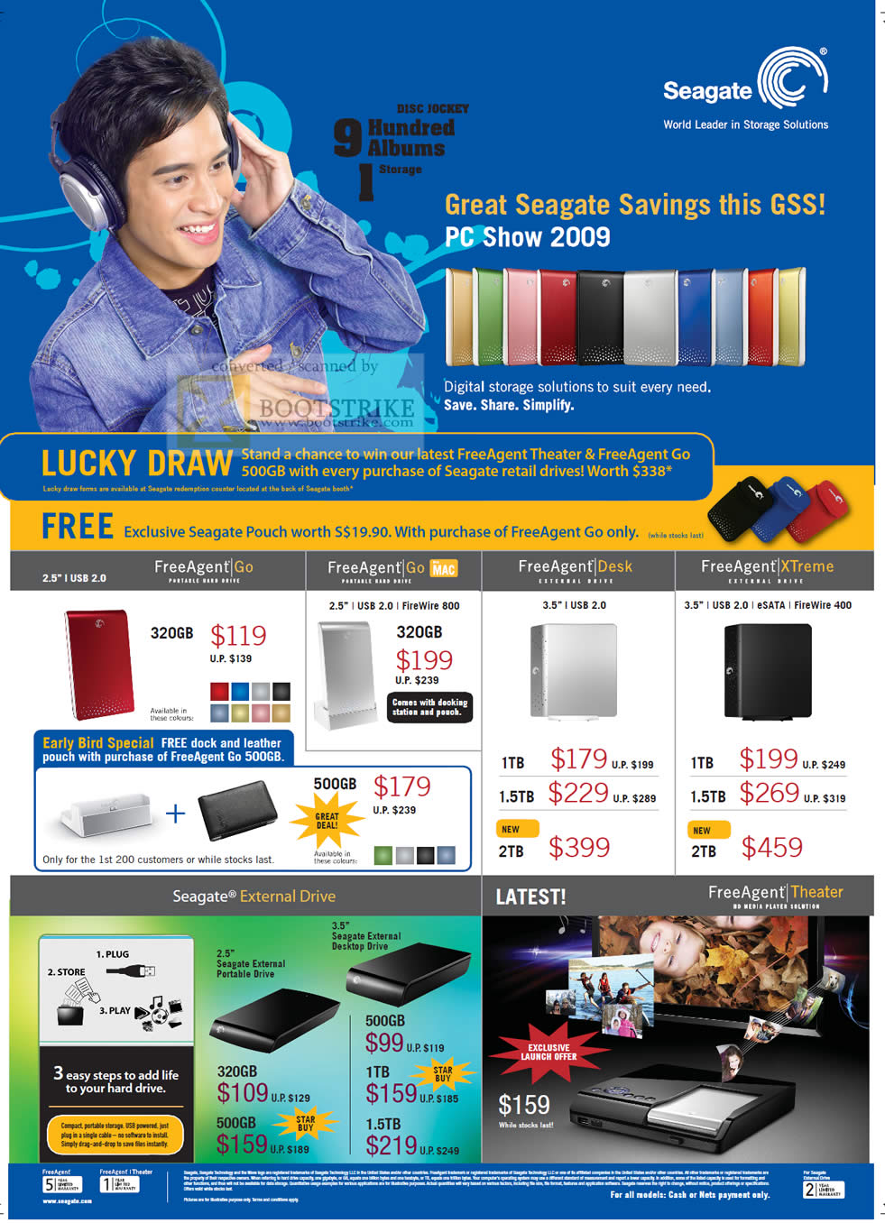 PC Show 2009 price list image brochure of Seagate FreeAgent Go Desk XTreme External Drive Theater