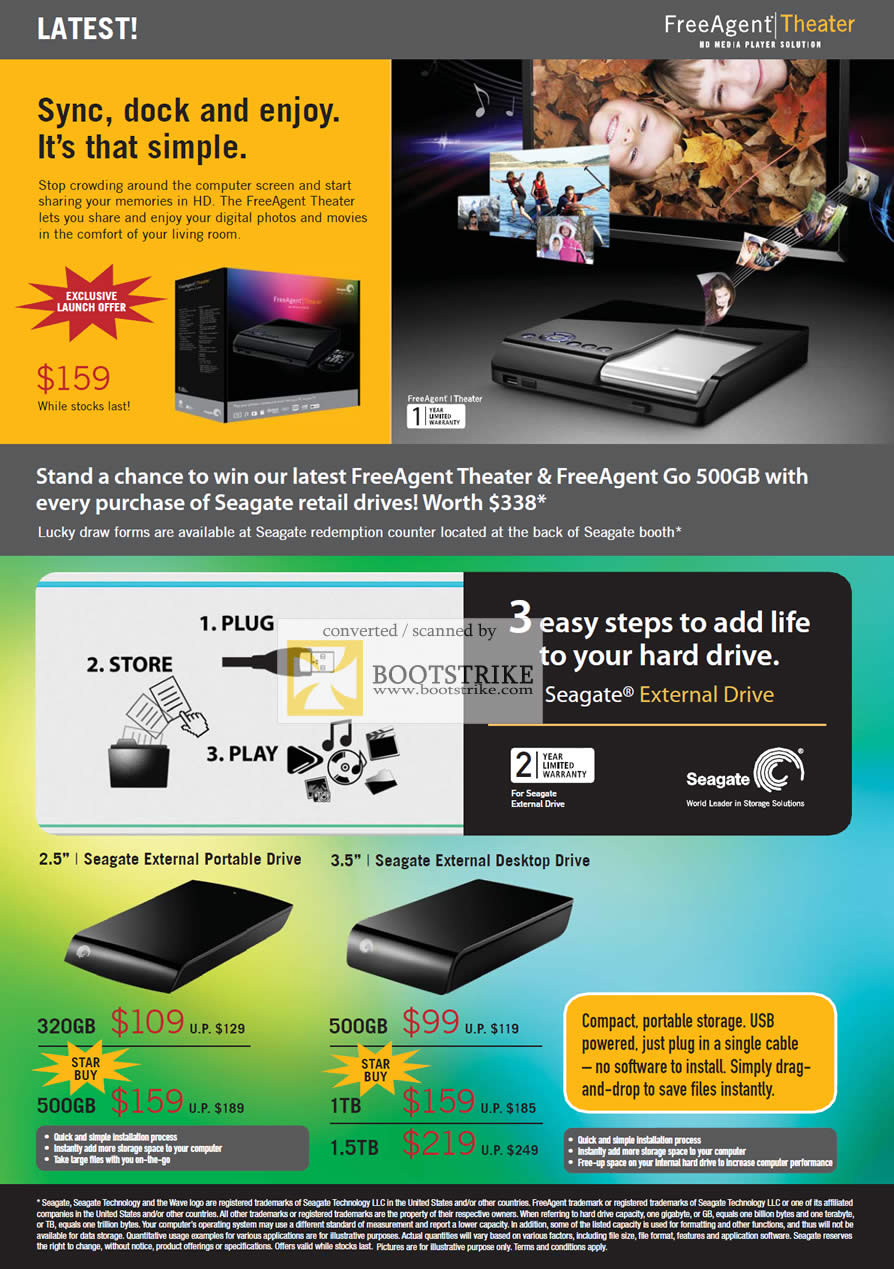 PC Show 2009 price list image brochure of Seagate FreeAgent Theater External Portable Drive